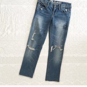 Madewell Distressed Rail Straight Jeans Size 26